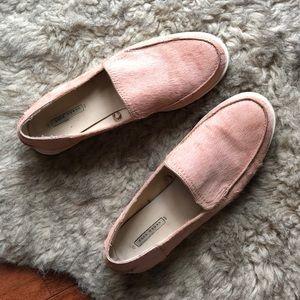 Zara leather pink hair moccasins flats